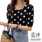 EASON SHOP(GW3132)韓版復古撞色圓波點點薄款前排釦圓領燈籠袖短袖雪紡襯衫女上衣服落肩內搭衫紅色