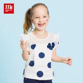 JJLKIDS 女童 復古大點點蕾絲拼接短袖上衣(白色)