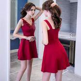 洋裝無袖V領荷葉邊紅色 派對夜店 韓版 婚禮小禮服 連身裙 花漾小姐【預購】