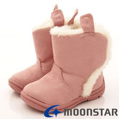 【MOONSTAR】機能童鞋-氣質毛毛靴靴-CRB964-粉-小童-0