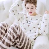 秋冬珊瑚絨睡衣女冬季長袖保暖加厚加絨毛絨可愛法蘭絨家居服套裝  潮流衣館