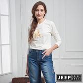 【JEEP】女裝 簡約3D立體圖騰長袖TEE (白)