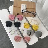 2018新款韓國網紅同款蝶形方框太陽鏡不規則墨鏡男女眼鏡潮流