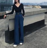 牛仔寬褲 女秋裝高腰顯瘦寬鬆直筒褲闊腿褲