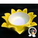 精緻黃瓷蓮座 (求財 佛力加持) + 平安加持小佛卡【十方佛教文物】
