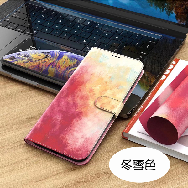 四季暮色 蘋果 iPhone SE2 i6 i7 i8 Plus XR XS max 簡約時尚皮套 側翻手機蓋 磁吸保護套 插卡功能