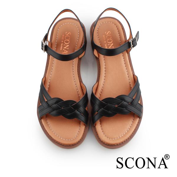 SCONA 蘇格南 全真皮 舒適編織涼鞋 黑色 31073-2