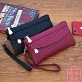 女錢包韓版手拿包潮爆簡約手機包氣質格紋零錢包小包【匯美優品】