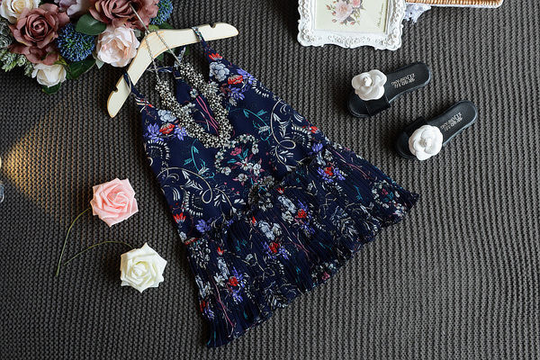 衣童趣♥韓版中小女童 夏威夷風情 紡紗吊帶背心裙 碎花民族風圖騰連身百褶裙