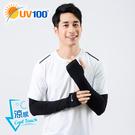 UV100 防曬 抗UV-沁透冰絲涼感袖套-彈力指洞-男
