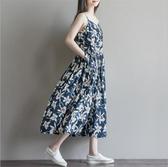 漂亮小媽咪 花漾棉麻洋裝 【D3071】 細肩帶 加大 傘狀 棉麻 孕婦裝洋裝 高腰 長裙 長洋裝
