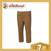 【Wildland 荒野 女 彈性透氣抗UV七分褲《黃卡其》】0A61371-62/抗UV/透氣/耐磨/輕薄/休閒褲
