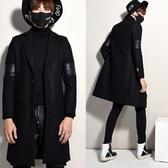 風衣外套-時尚皮革拼接純色中長版翻領男大衣73ip52【時尚巴黎】