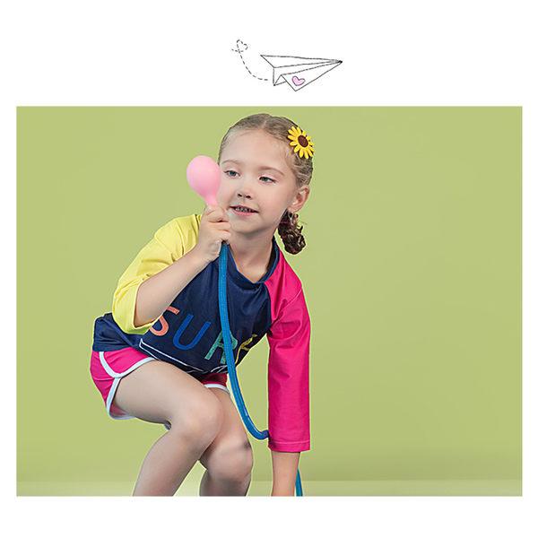 兒童泳裝 萌 彩色 色塊 運動 兩件套 長袖 兒童泳裝【SFC2022】 BOBI  12/14