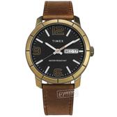 TIMEX 天美時 / TXTW2T72700 / 數字刻度 日期星期 礦石強化玻璃 真皮手錶 黑x古銅金框x褐 44mm