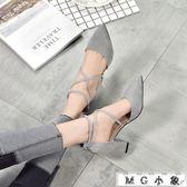 MG 綁帶高跟-絨面百搭高跟鞋淺口中跟綁帶鞋