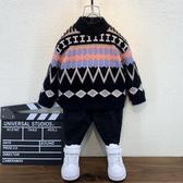 男童上衣男童毛衣加絨秋冬洋氣新款寶寶套頭打底小兒童水貂絨加厚線衣童趣屋促銷好物