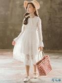 女童背心公主裙子洋氣白色沙灘裙兒童蕾絲長裙夏季寶寶連身裙春秋 FX8404 【野之旅】