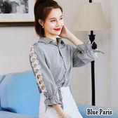 藍色巴黎 ★ 韓版  襯領排釦拼接蕾絲花邊七分袖條纹襯衫 上衣 《2色》【28510】
