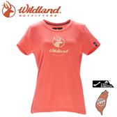 【Wildland 荒野 女 彈性印花經典抗UV上衣《蜜橘》】0A71637/運動衣/吸濕排汗/T恤/防曬