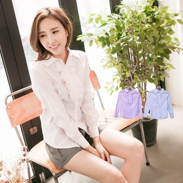 襯衫--甜心OL氣質美-胸前荷葉邊條紋設計長袖襯衫(白.粉M-4L)-I97眼圈熊中大尺碼