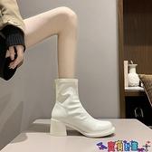 99免運 高跟短靴 網紅切爾西靴女2021秋冬圓頭大頭粗跟彈力瘦瘦靴高跟短靴女 【寶貝計畫】