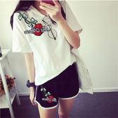 跑步休閒套裝女士夏季韓版大碼寬鬆T恤短袖短褲運動服兩件式【119款】