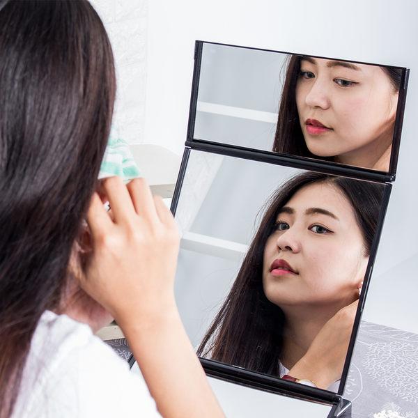 化妝鏡 桌鏡 鏡子-3色 三面鏡 折疊鏡 梳妝鏡【C001】