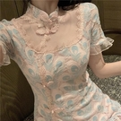 旗袍洋裝 旗袍女夏改良2021年新款氣質修身顯瘦性感短款小個子蕾絲連身裙潮
