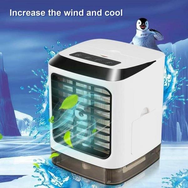水冷扇冷風扇車用迷你冷風機噴霧加濕器製冷臺式桌面空調扇 亞斯藍