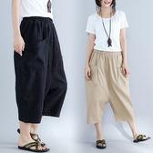 【GZ L2】8052#新款女褲棉麻休閒哈倫褲七分褲大碼寬鬆鬆緊腰