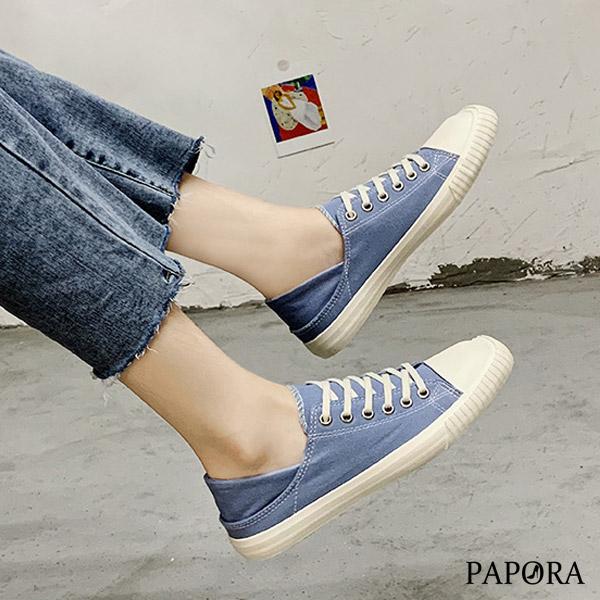 PAPORA二穿式方頭設計休閒鞋帆布鞋K20137黑/白/藍