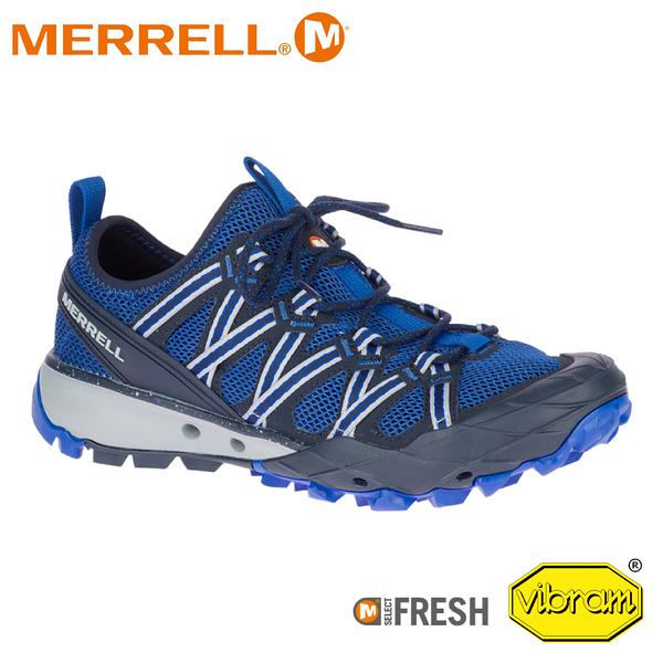 【MERRELL 美國 男 Choprock 水陸兩棲健行登山鞋《深藍/寶藍》】033529/短筒/輕量/健走/溯溪/防臭