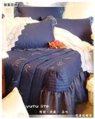 法式典藏˙浪漫婚紗系列『花樣迷蝶香』寶藍*╮☆六件式專櫃高級精梳棉床罩組(6*6.2尺)