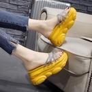 增高拖鞋 厚底女拖鞋夏季外穿時尚新款高跟鬆糕厚底楔形增高女士涼拖鞋-Ballet朵朵