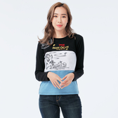 BIG TRAIN 狐仙面具配色長袖T恤上衣-女-黑-Z25159