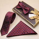 領帶男韓版領結方巾窄版6CM正裝英倫深藍金色腰果花復古花紋套裝   麥吉良品