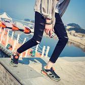 夏季破洞褲男士修身小腳乞丐褲子韓版潮流九分牛仔褲男黑色緊身潮-Ifashion