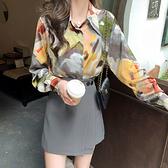 印花襯衫+短裙 兩件式套裝-媚儷香檳-【FD0130】