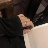 通體s925純銀雙層戒指單邊微鑲鋯石時尚個性小眾設計網紅食指戒女