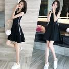 無袖洋裝 小心機復古修身顯瘦小黑裙背心裙女夏季韓版小清新系帶無袖連衣裙