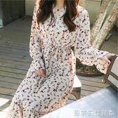 雪紡洋裝2019春季韓國復古寬鬆雪紡繫帶中長款碎花洋裝女  【全網最低價】