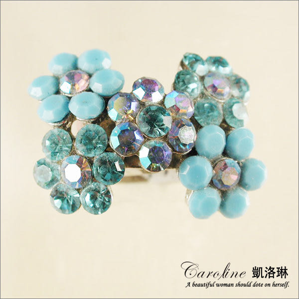《Caroline》★韓國進口甜心可愛設計施華洛世奇水晶造型戒指【可調整型】39716