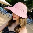帽子女 潮流韓版海邊沙灘度假防曬帽子女春夏季防紫外線空頂遮陽帽字母大檐帽 【快速出貨】