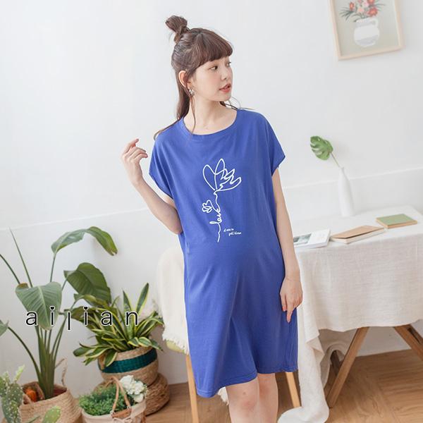 愛戀小媽咪 正韓 孕婦裝 手繪抽象花朵印圖薄棉洋裝