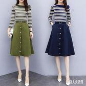 兩件式裝洋氣名媛秋裝女套裝裙新款時尚氣質中長款連身裙 zm9121『俏美人大尺碼』