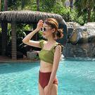 泳裝 比基尼 泳衣 撞色 簡約 抓皺 袖蓋 露腰 三角 兩件套 泳裝【SF9815】 BOBI  12/06
