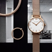PH PAUL HEWITT / PH-SA-R-XS-W-45S / 藍寶石水晶玻璃 瑞士機芯 米蘭編織不鏽鋼手錶 銀白x鍍玫瑰金 28mm