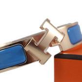 HERMES Clic H LOGO 6D Bleu Cielo 琺瑯細版手環 / 天空藍色 (PM)  全新品