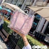 手提包 夏季小包包女百搭韓版水桶簡約手提子母包透明果凍斜背包 新品